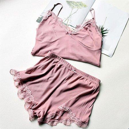 Pijama Feminino Curto com Renda