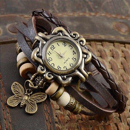 Relógio Feminino Vintage Pulseira de Couro