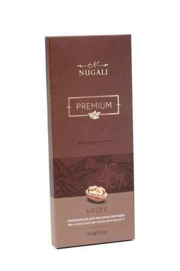 Tablete de Chocolate ao Leite 45% Cacau com Nozes 100g Nugali