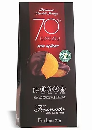 Chocolate Amargo 70% Cacau Zero Açúcar 80g
