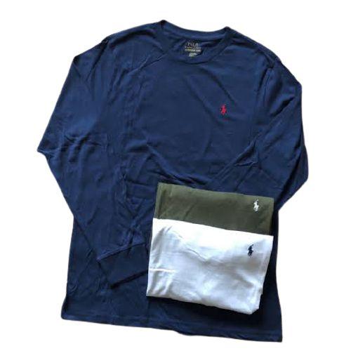 Kit Com 3 Camisetas Básica Manga Longa Polo Ralph Lauren