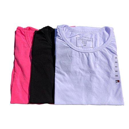 Kit Com 3 Camisetas Feminina Básica Manga Curta Tommy