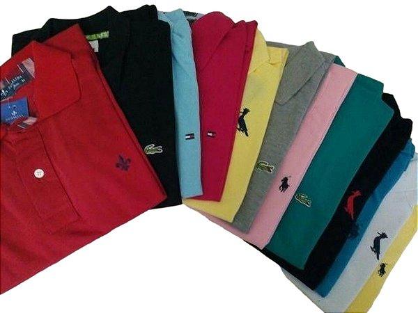 Kit Com 3 Camisa Polo Manga Curta Diversas Marcas