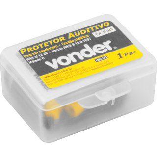 Protetor auditivo tipo plug, de copolímero, VONDER