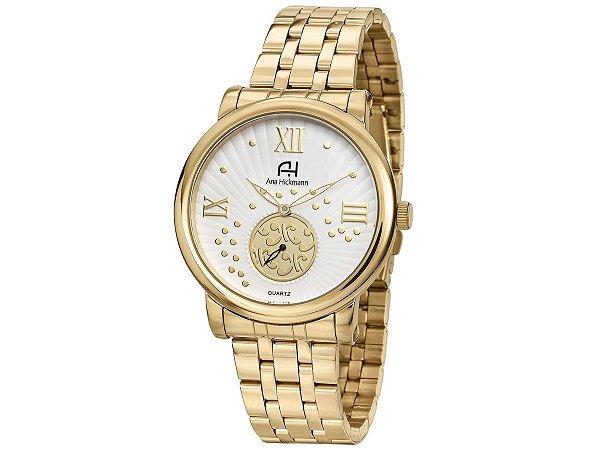 8e5703829 Relogio Feminino Dourado Grande Ana Hickmann AH29007H - Relojoaria Jabem