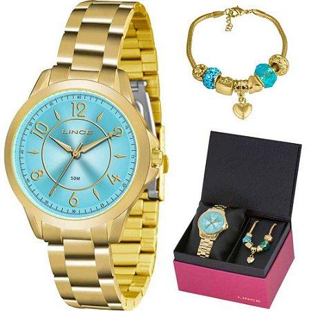 Kit Relogio Feminino Lince Dourado Fundo Azul Lrg4504l Ku50