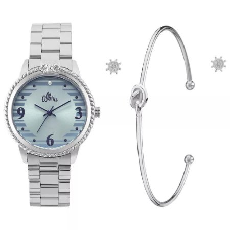 Kit Relogio Feminino Prata Allora Bracelete Al2035fkr/k3a