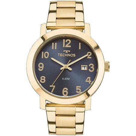 8dca117b474 Relogio Feminino Dourado Technos Elegance Fundo Azul Numeros ...