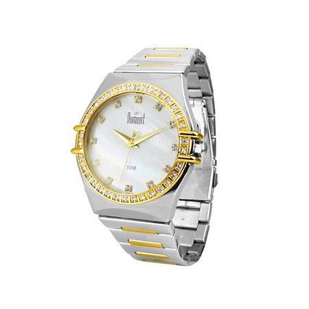 Relogio Feminino Prata e Dourado Dumont com Pedras SX75018B