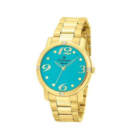 Relogio Feminino Champion Dourado Fundo Azul Turquesa Strass