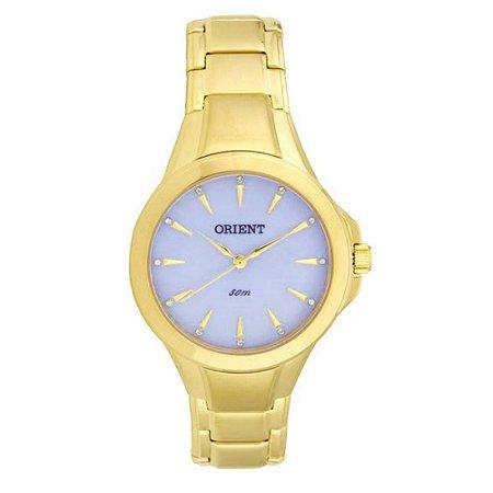 Relogio Feminino Orient Dourado com Fundo Azul FGSS0084/A1KX