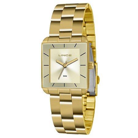 257e24901c4 Relogio Feminino Quadrado Dourado Lince LQG4583L C1KX - Relojoaria Jabem