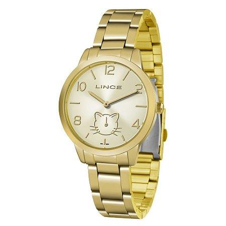 de3c519c857b0 Relogio Feminino Dourado com Gato Lince LMG4574L C2KX - Relojoaria Jabem