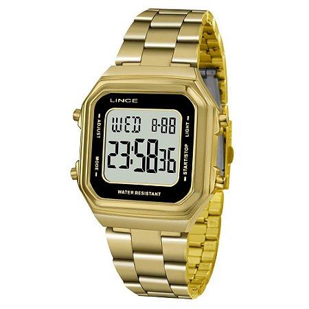 Relogio Feminino Digital Quadrado Dourado Lince SDG615L BXKX