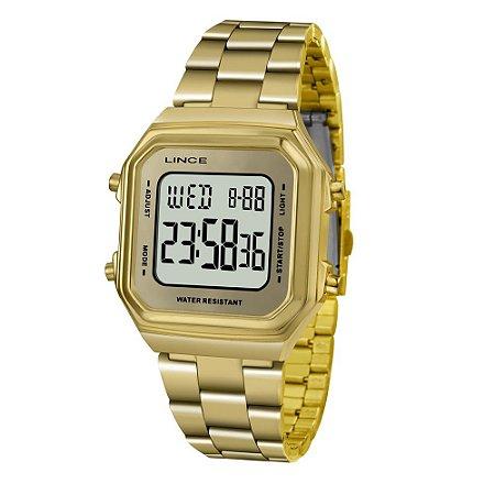Relogio Feminino Digital Quadrado Dourado Lince SDG616L BXKX