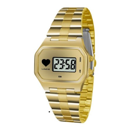 Relogio Feminino Digital Quadrado Dourado SDG4480L BKKX