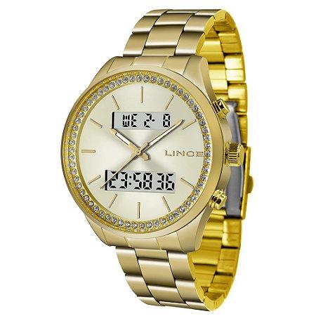 Relógio Feminino Dourado Digital e Analógico com Pedras LAG4
