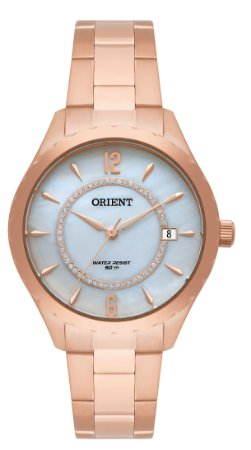 Relogio Feminino Rose Gold Orient fundo Madreperola com Data