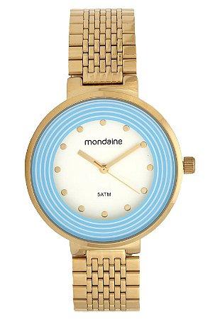 Kit Relogio Feminino Dourado Mondaine com detalhe em Azul 9M
