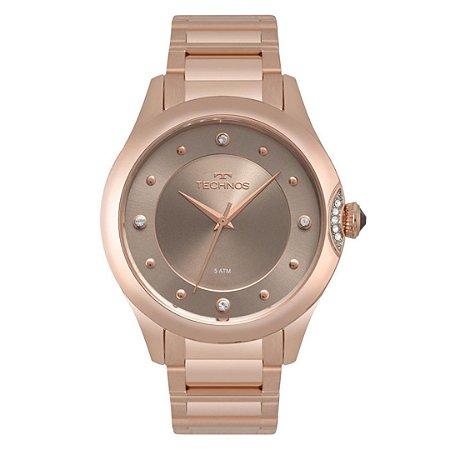 Relógio Feminino Rose com Pedras Mostrador Cinza Technos