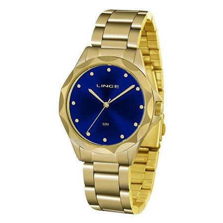 Relogio Feminino Dourado com Fundo Azul LRGJ076L D1KX