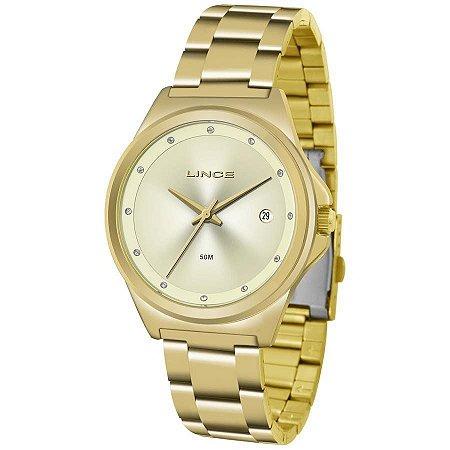 Relógio Feminino Dourado com Data Lince LRG4567L C1KX