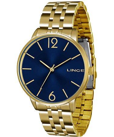 Relogio Feminino Dourado Com Fundo Azul Lince LRG605L D2KX