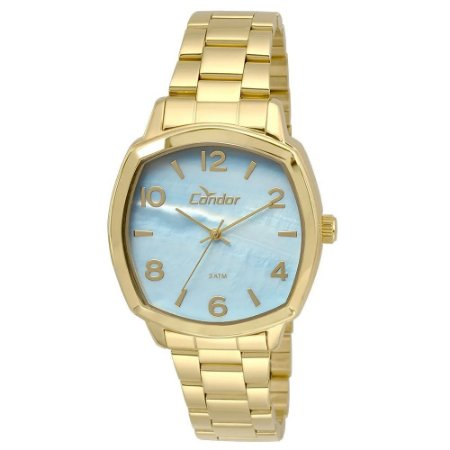 Relógio Feminino Quadrado Dourado Condor Fundo Azul  CO2035K