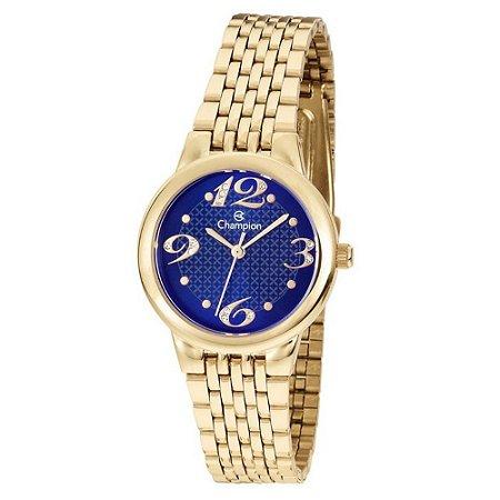 Relógio Feminino Dourado Champion Mostrador Azul