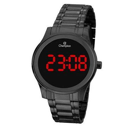 Relógio Feminino Preto Digital Champion Led Vermelho + NF