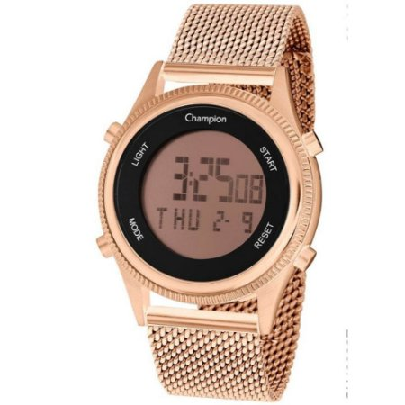 Relogio Feminino Digital Rosa Rose Gold Champion Original