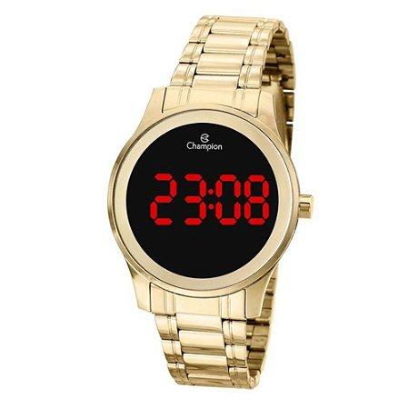 Relógio Feminino Dourado Champion Digital Led Vermelho + NF
