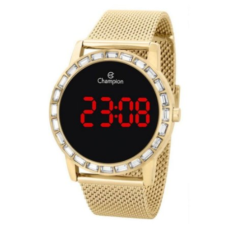Relógio Feminino Dourado Digital Champion Led Vermelho + NF