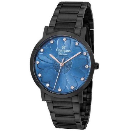 Relógio Feminino Preto Champion Fundo Azul Flor e Pedras