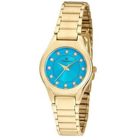 Relógio Feminino Dourado Champion Pequeno Fundo Azul Pedras