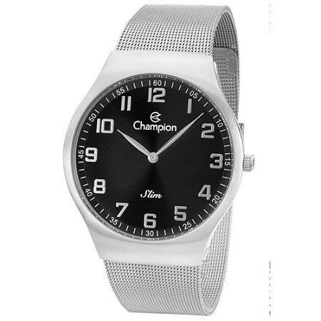 Relógio Feminino Prata Champion Slim Fundo Preto Original