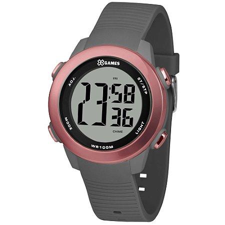 Relógio Feminino Digital Cinza e Rosa X-Games Prova D'Água