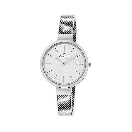 Relógio Feminino Slim Prata Pulseira Telinha Original Oslo