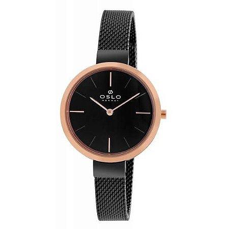 Relógio Feminino Slim Preto Com Rose Gold Pulseira Telinha