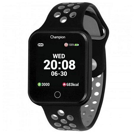 Smartwatch Champion Quadrado Preto IOS Android Original+NF