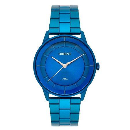 Relogio Feminino Azul Orient Ponteiros Rose Original + NF