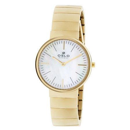 Relógio Feminino Dourado Oslo Slim Fundo Madrepérola + NF