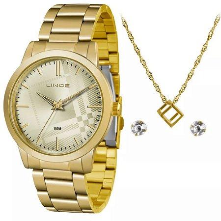 Kit Relogio Lince Feminino Dourado com brinco e colar KV00