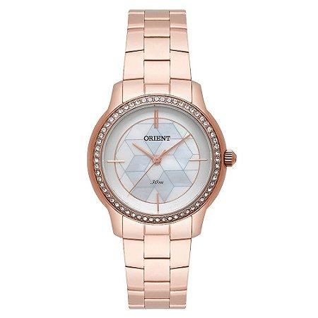Relogio Feminino Rose Gold Fundo Branco Orient FRSS0034 S1RX