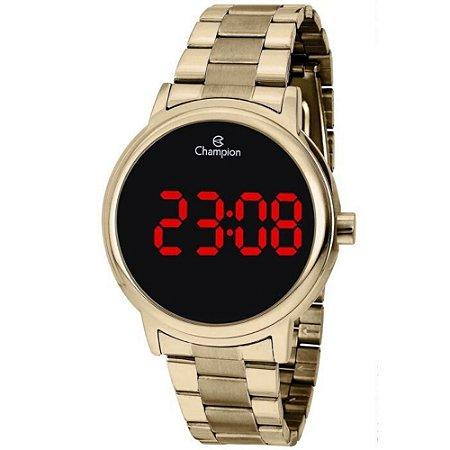 Relógio Feminino Dourado Champion Led Vermelho Original