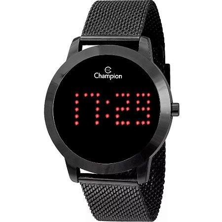 Relógio Feminino Digital Preto Champion Led Vermelho + NF