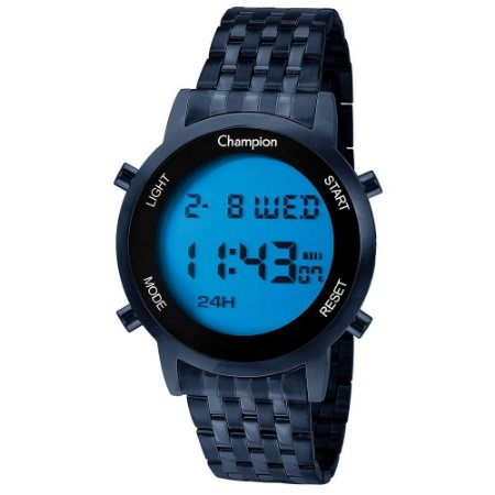 Relógio Feminino Azul Digital Champion Led Azul Original