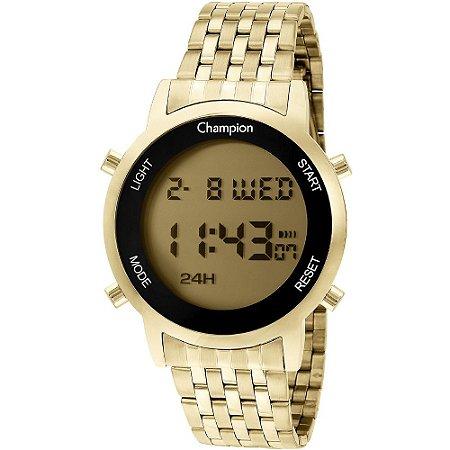 Relógio Feminino Digital Dourado Champion Led Amarelo + NF