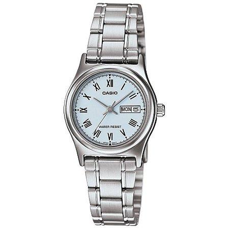 Relógio Casio Feminino Pequeno Prata Calendário Duplo + NF