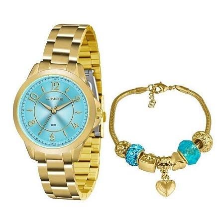 Kit Relogio Lince Feminino Dourado fundo azul com Pulseira
